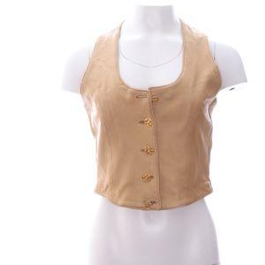 Firenze Tan Leather Vest Womens M